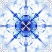Symmetrical fractal flower blue, digital artwork for creative graphic  — Stok fotoğraf