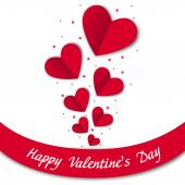 Happy Valentines Day card with paper hearts — Stock Vector