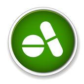 Pills, medicine icon, button — Stock Vector