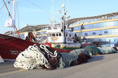 Fishing boats moored in the port — Stock Photo