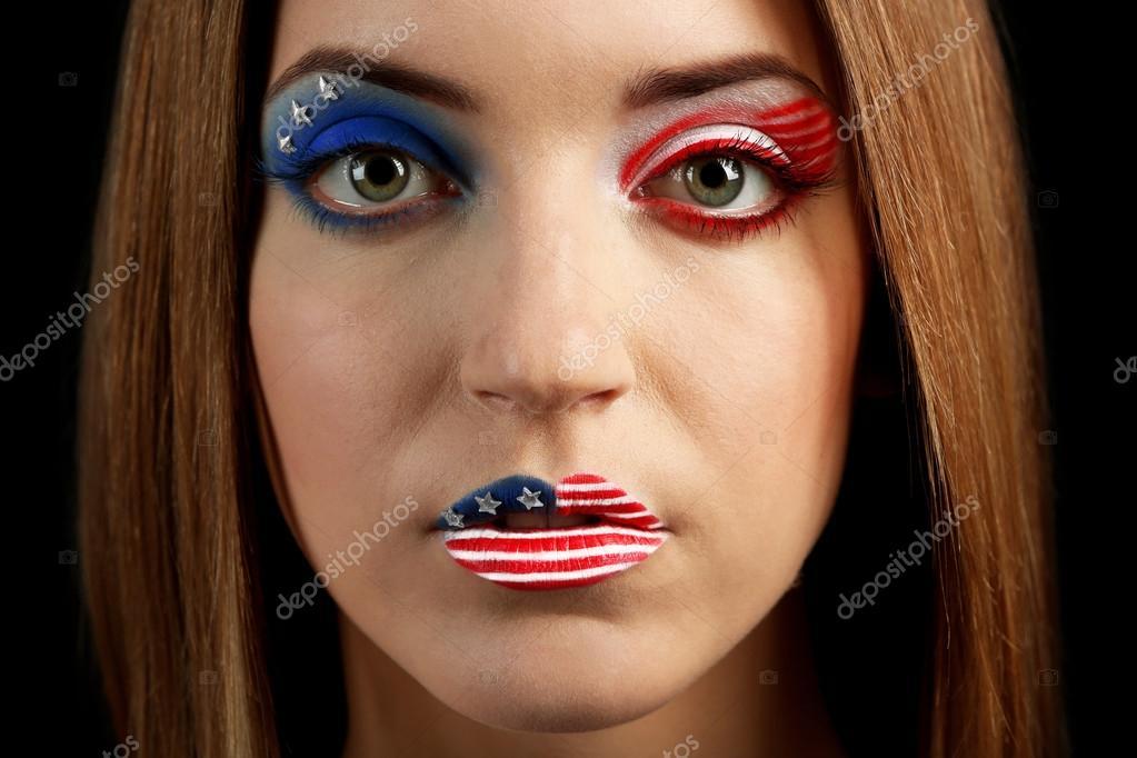 Belle fille avec du maquillage Usa \u2013 Image