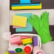 Collection of cleaning products and tools — Stock Photo #51897687