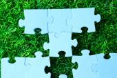 Puzzle pieces on green grass background. Green space concept — Stock Photo