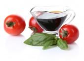 Balsamic vinegar,  tomato and basil isolated on white — Stock Photo