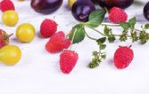 Beautiful ripe plums and berries on wooden table close-up — Stock Photo