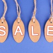 Sale tags on blue background — Stock Photo #52092711