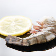 Fresh tasty prawn with lemon and dill on white background  — Stock Photo #52094137