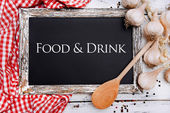 Food and drink written on chalkboard, close-up — Stock Photo