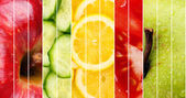 Collection of healthy fresh food backgrounds — Stockfoto