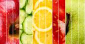 Collection of healthy fresh food backgrounds — Stock Photo