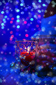 Composition with plaids, candles and Christmas decorations on bright background — Stock Photo