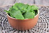 Brown round bowl of fresh mint leaves on a stand on wooden table — Stockfoto