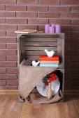 Shelves made of wooden boxes for small things for home — Stock Photo
