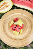 Melon and water melon on bamboo plate on grass background — Stock Photo