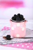 Sweet blackberries in color bowl on  bright background — Zdjęcie stockowe