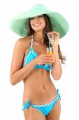 Beautiful young woman in swimsuit and hat isolated on white — Stock Photo