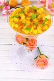 Apricot dessert in glass on table close-up — Stock Photo