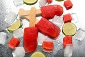 Watermelon ice-cream, close-up — Stock Photo