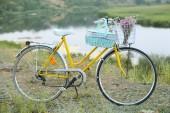 Bicicleta em prado, durante o pôr do sol — Foto Stock