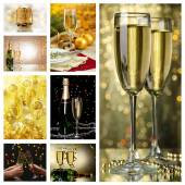 Christmas collage. Glasses of champagne on  shine  background — Стоковое фото