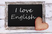 I love English written on chalkboard, close-up — Stock Photo