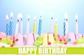Birthday postcard.Birthday cake with candles — Stock Photo
