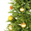 Decorated Christmas tree close-up isolated on white — Stock Photo #52324127
