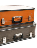 Vintage old travel suitcases, close up — Foto de Stock