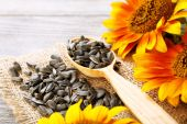 Sunflowers and seeds with spoon on wooden background — Stock Photo