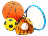Sports equipment isolated on white — Stock Photo