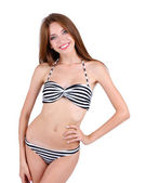 Beautiful young woman in swimsuit isolated on white — Stock Photo