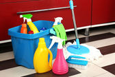 Different tools for cleaning in kitchen — Stock Photo