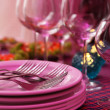 Buffet table with dishware waiting for guests — Stock Photo #52337875