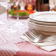 Buffet table with dishware waiting for guests — Stock Photo #52337881
