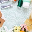 Scrapbooking craft materials on light background — Stock Photo #52337927