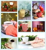 Christmas drinks collage — Stock Photo