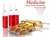 Medical ampules, pills and syringes, isolated on white — Stock Photo