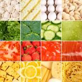 Colección de fondos sanos alimentos frescos — Foto de Stock