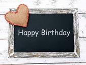Happy birthday written on chalkboard, close-up — Stok fotoğraf