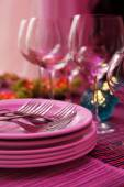 Buffet table with dishware waiting for guests — Stock Photo