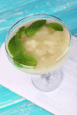 Melon smoothie in glass on table close-up — Foto Stock