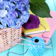Hydrangea with books and threads on table close-up — Stock Photo #52347855