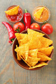 Nachos and chili pepper — Stock Photo