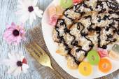 Sweetened fried banana on plate, close-up — Stock Photo