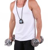 Young muscular sportsman execute exercise with dumbbells isolated on white — Stock Photo