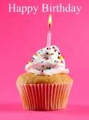 Birthday postcard.Tasty birthday cupcake with candle — Stock Photo