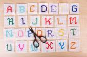 Handmade embroidered letters — Stock Photo