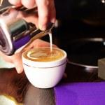 Woman preparing coffee, close up — Stock Photo