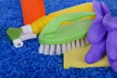 Cleaning items on carpet — Stock Photo