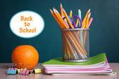 School supplies on table — Stock Photo